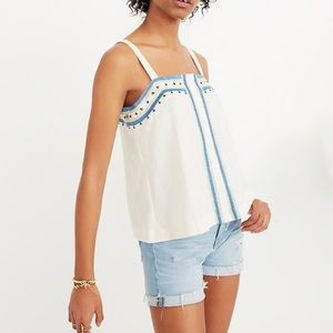 NWT Madewell Mirror Embroidered Tank Top size 2